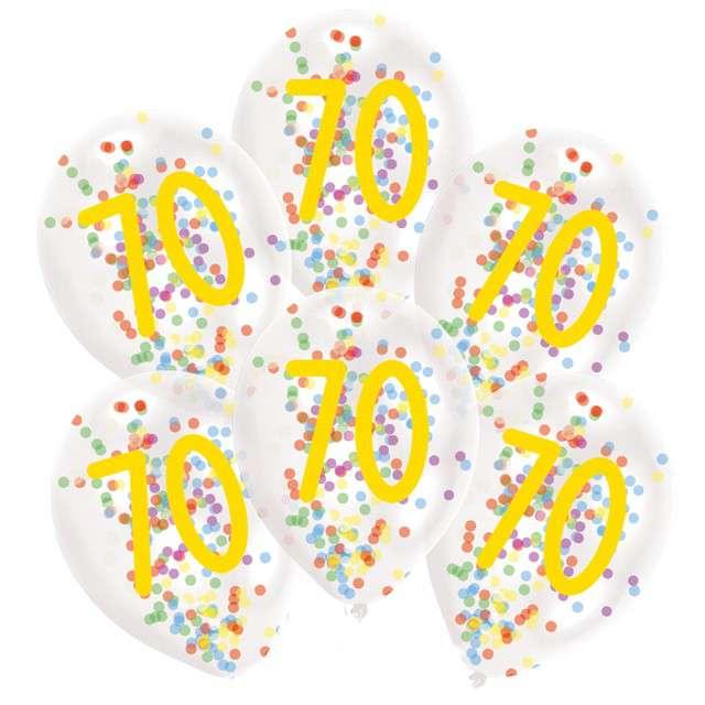 """Balony """"70 urodziny z konfetti"""", transparentne, Amscan, 11"""", 6 szt"""