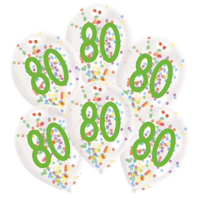 """Balony """"80 urodziny z konfetti"""", transparentne, Amscan, 11"""", 6 szt"""