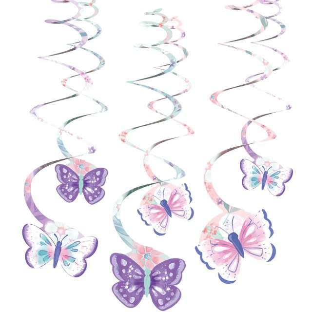 """Dekoracja wisząca świderki """"Barwne Motyle"""", AMSCAN, 6 szt"""