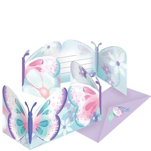 """Zaproszenia urodzinowe """"Barwne motyle"""", Amscan, 8 szt"""