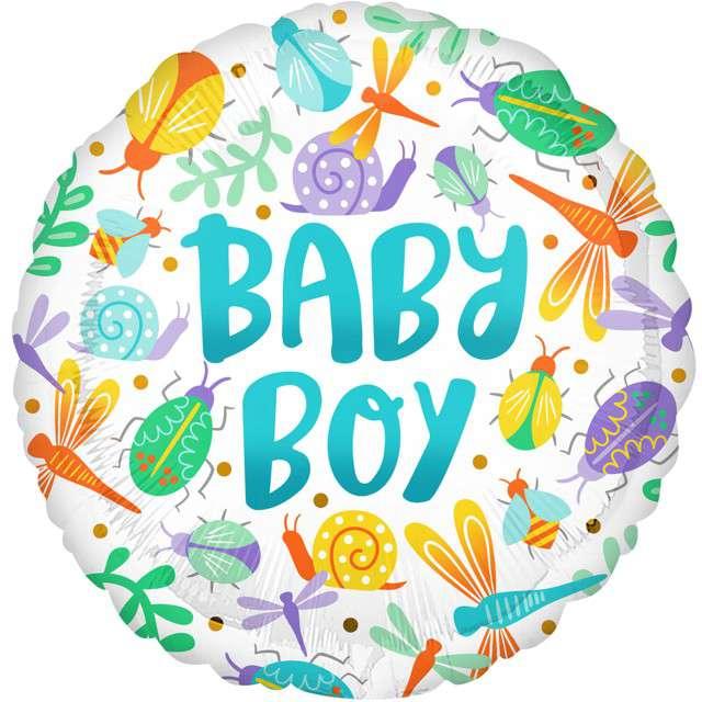 """Balon foliowy """"Baby Boy - mix zwierzątek"""", Amscan, 18"""" RND"""