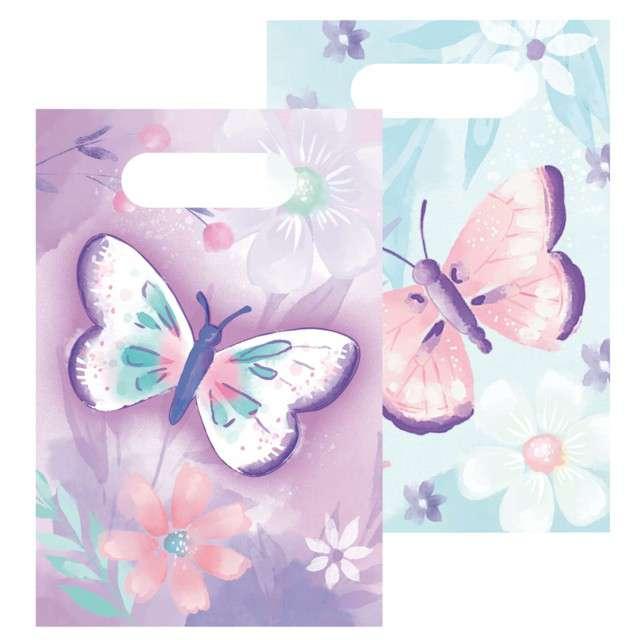 Torebki papierowe Barwne motyle Amscan 8 szt