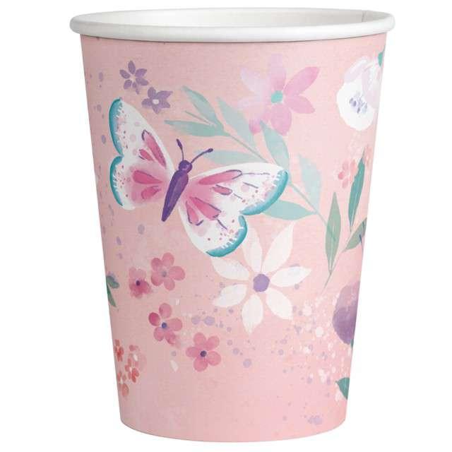 Kubeczki papierowe Różowe Motylki Amscan 250 ml 8 szt