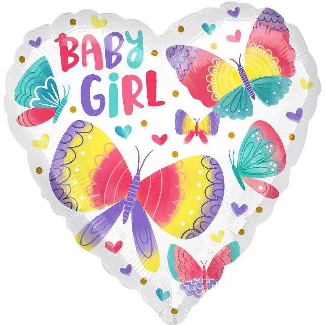 Balon foliowy Baby Girl - motylki w sercu Amscan 18 HRT