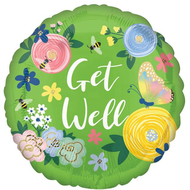 """Balon foliowy """"Kwiaty - Get Well"""", AMSCAN, 16"""" RND"""
