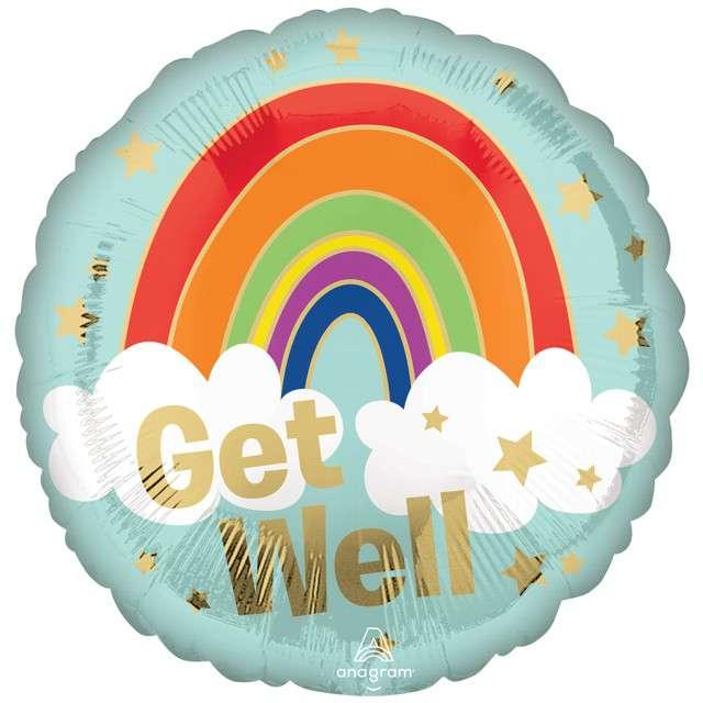 Balon foliowy Tęcza - Get Well AMSCAN 16 RND