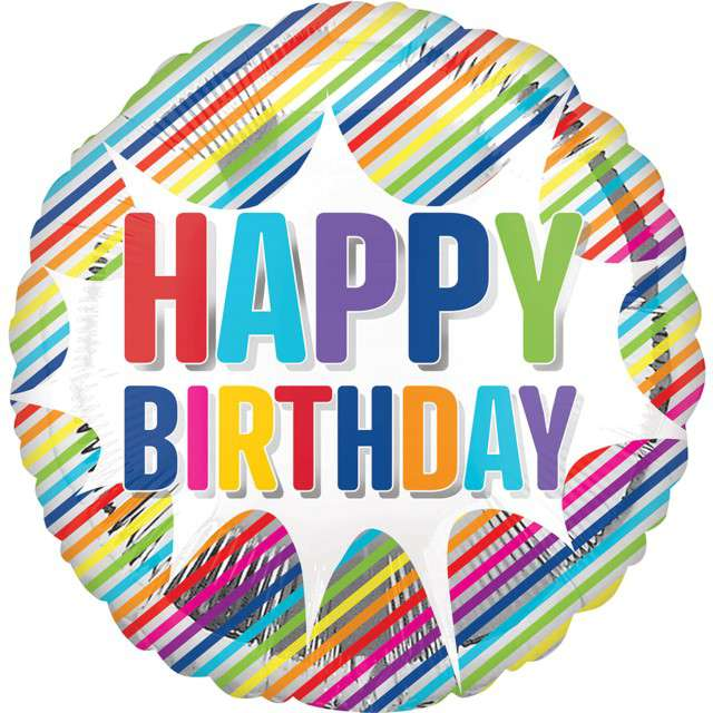 "Balon foliowy ""Happy Birthday w paski"", Amscan, 18"" RND"
