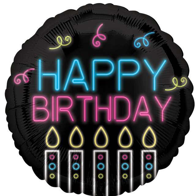 Balon foliowy Happy Birthday neonowy Amscan 18 RND
