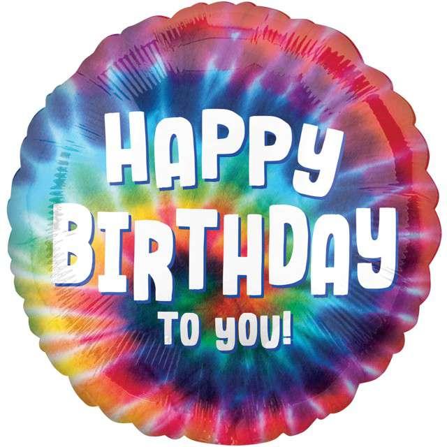 """Balon foliowy """"Happy Birthday"""", tęczowy, Amscan, 18"""" RND"""