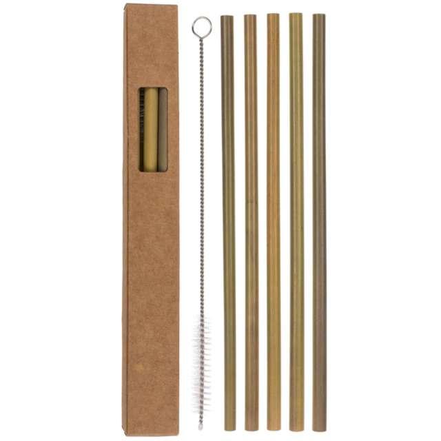 Słomki bambusowe Zestaw ze szczoteczką naturalne OOTB 5 szt