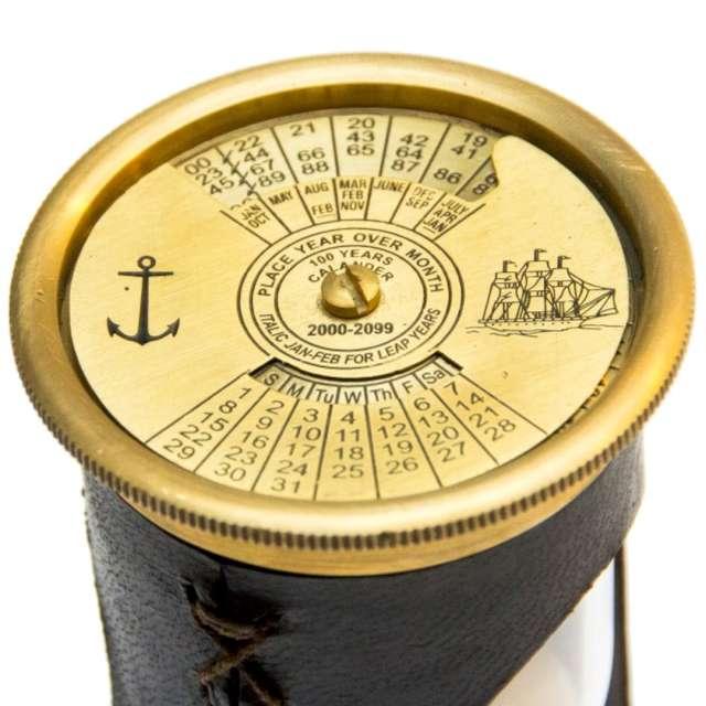 _xx_Klepsydra z zegarem światowym i kalendarzem 100-letnim - mosiądz