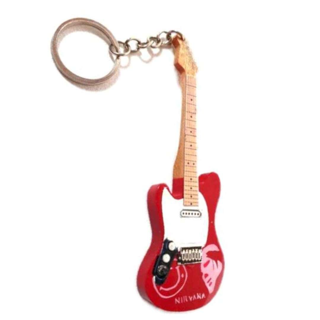 """Brelok """"Gitara Grunge"""", czerwono-biała, Kemiś"""