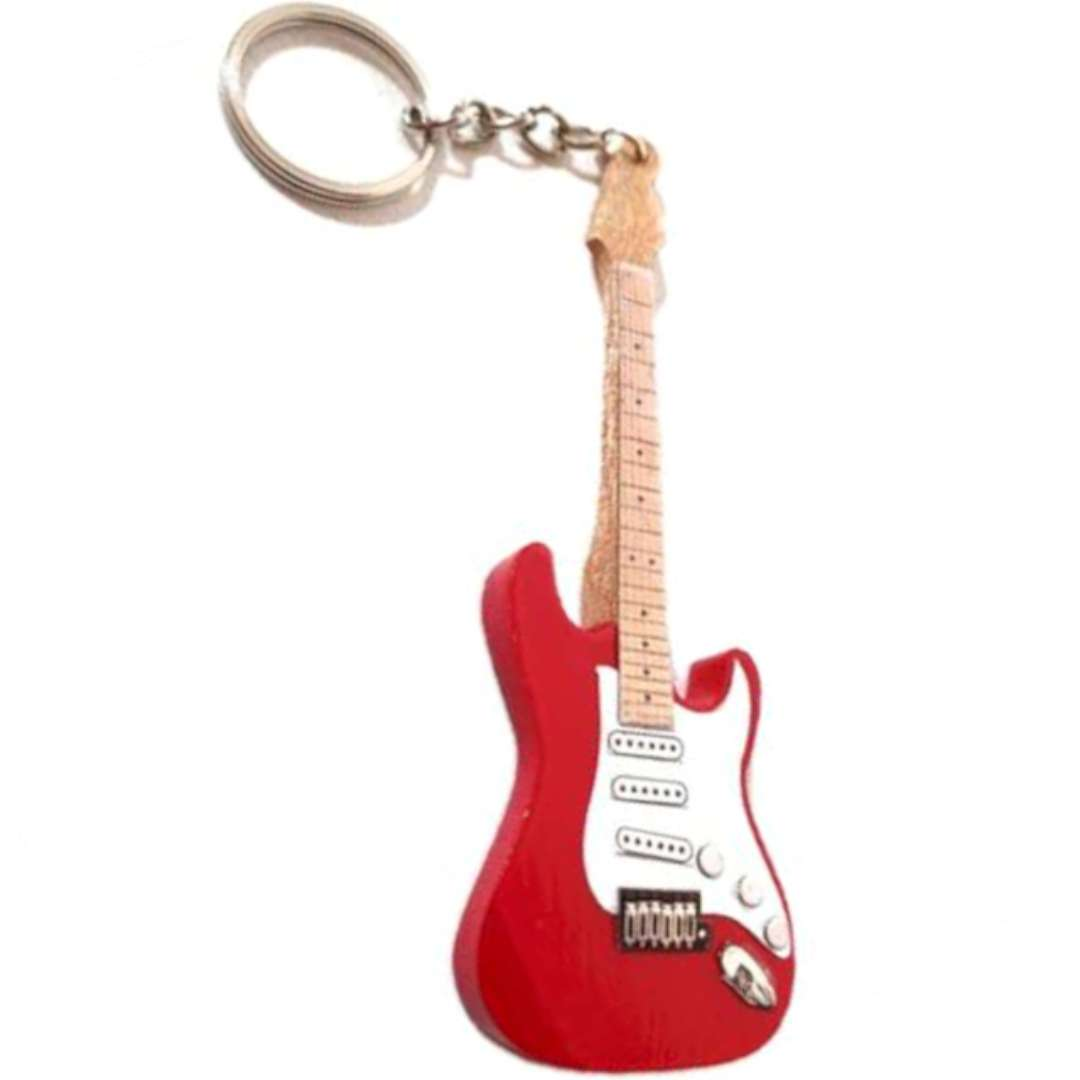 """Brelok """"Gitara elektryczna"""", czerwono-biała,  Kemiś"""