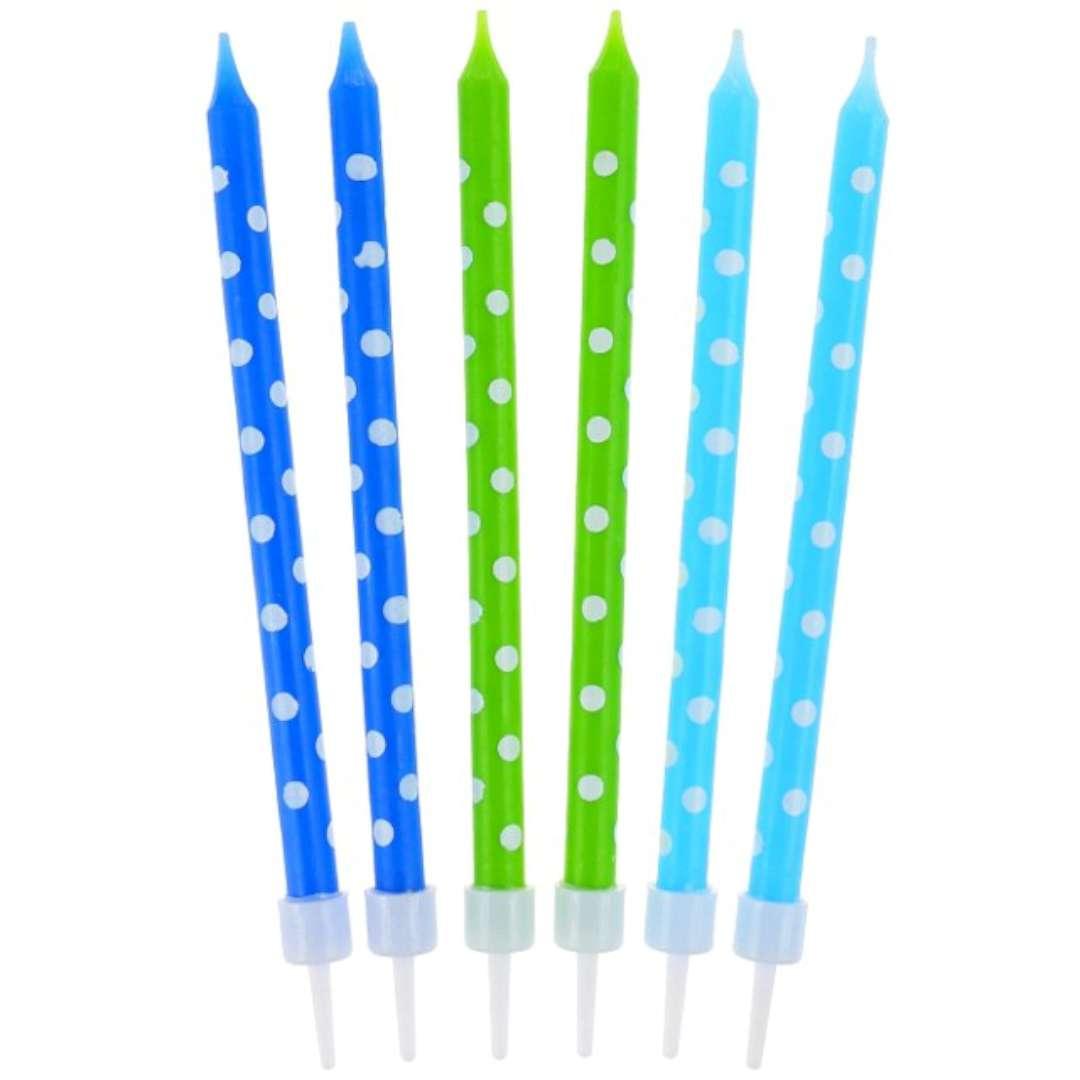 """Świeczki na tort """"Grochy Boy"""", niebiesko-zielone, GODAN, 24 szt"""