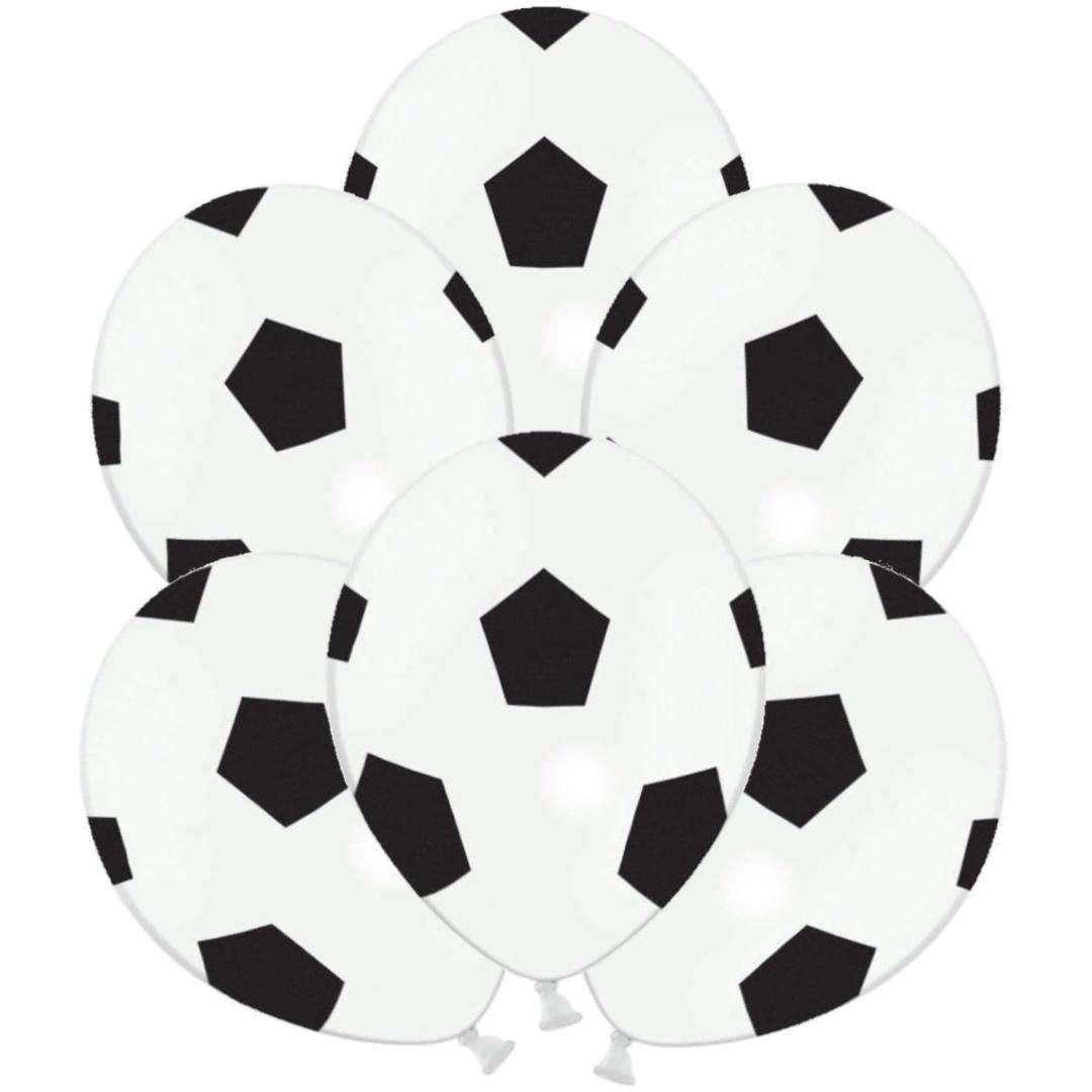 """Balony """"Piłka Nożna"""", białe, STRONG, 12"""", 6 szt"""