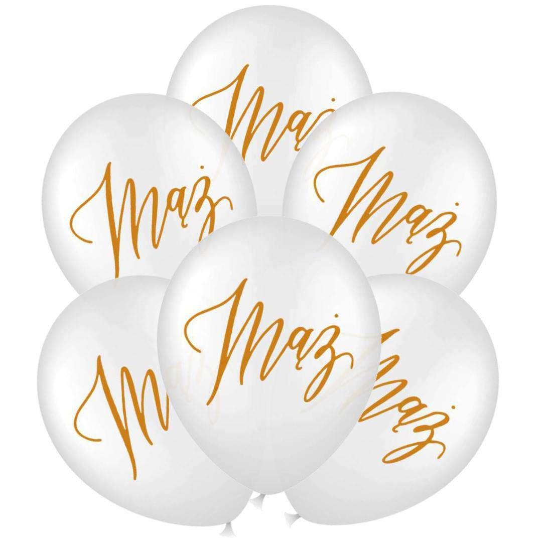 """Balony """"Ślubne - Mąż"""", białe, 12 cali, PartyPal, 6 szt"""