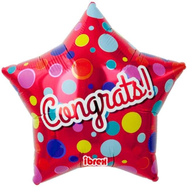 Balon foliowy Congrats! czerwony w kropki Ibrex 15 STR