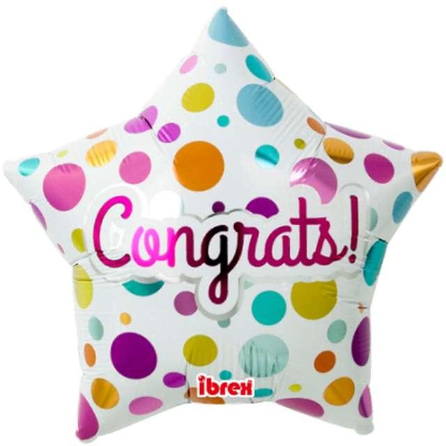 """Balon foliowy """"Congrats!"""", biały w kropki, Ibrex, 15"""", STR"""