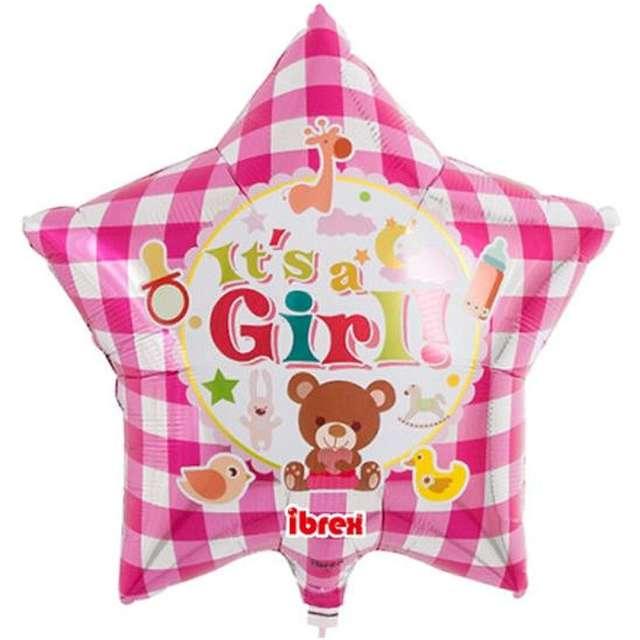 """Balon foliowy """"Its A Girl!"""", różowa pepitka, Ibrex, 15"""", STR"""