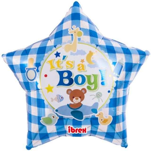 Balon foliowy Its A Boy! niebieska pepitka Ibrex 15 STR