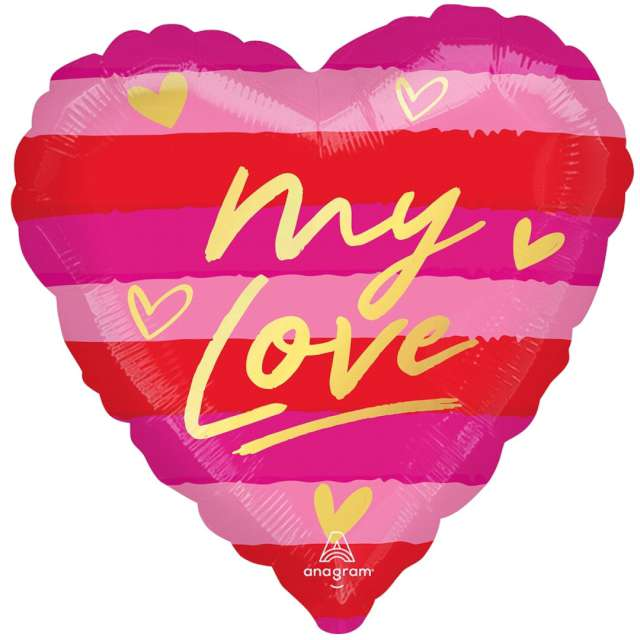 """Balon foliowy """"MY LOVE - serce w pasy"""", AMSCAN, 18"""" HRT"""
