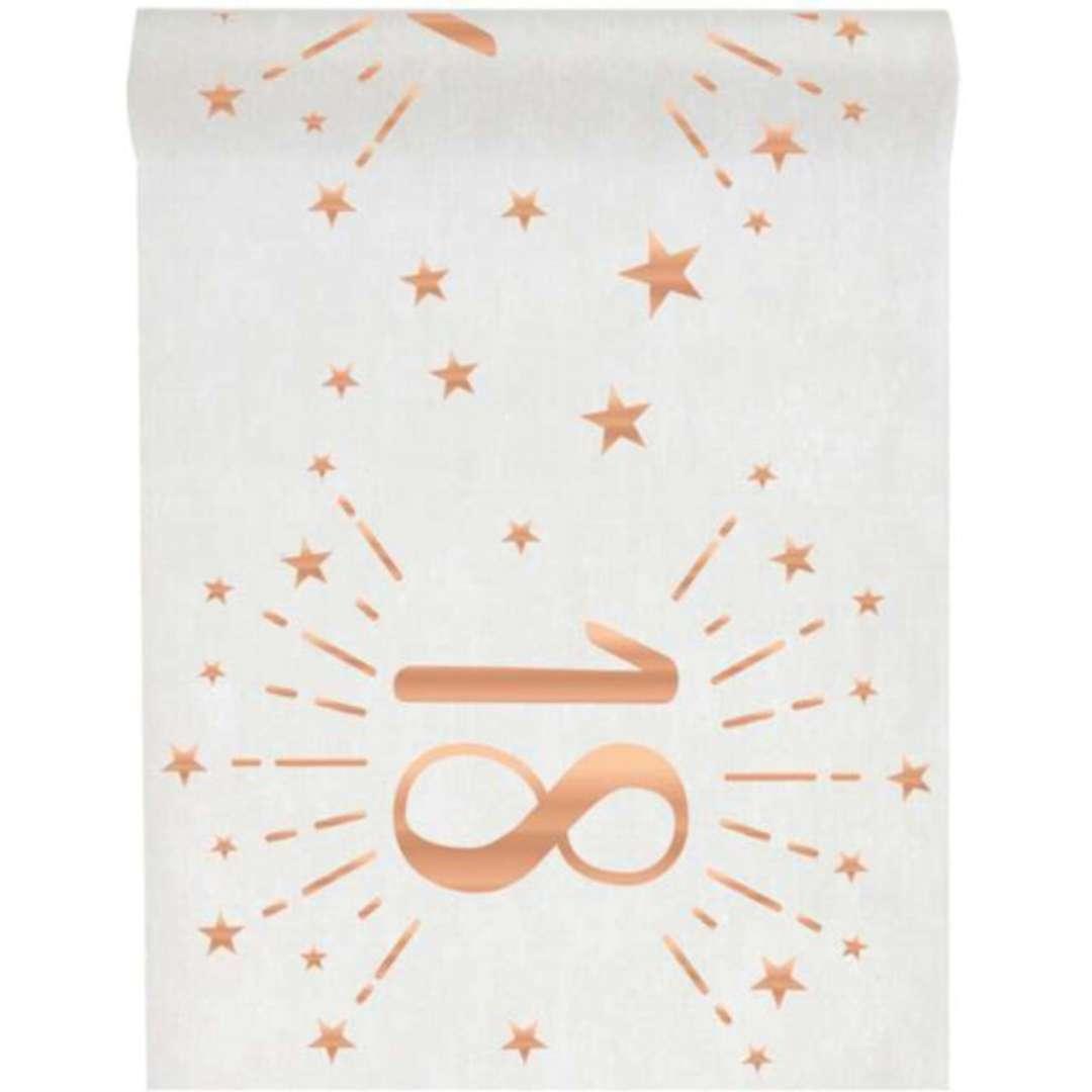 """Bieżnik """"18 urodziny - różowe-złoto, biały"""", SANTEX, 500 x 30 cm"""