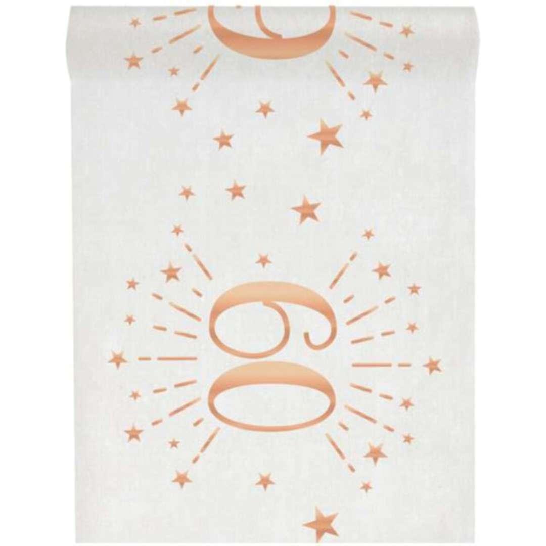 """Bieżnik """"60 urodziny - różowe-złoto, biały"""", SANTEX, 500 x 30 cm"""