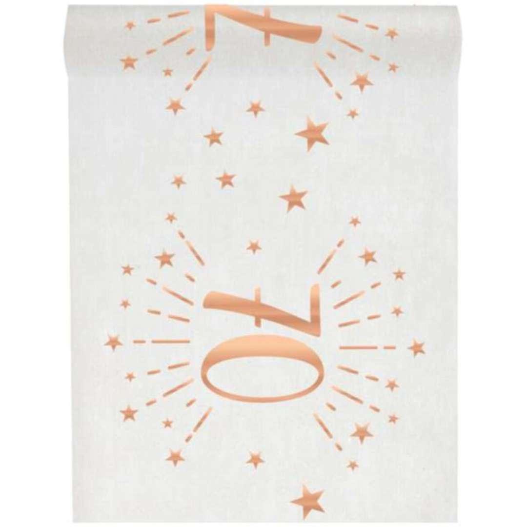 """Bieżnik """"70 urodziny - różowe-złoto, biały"""", SANTEX, 500 x 30 cm"""