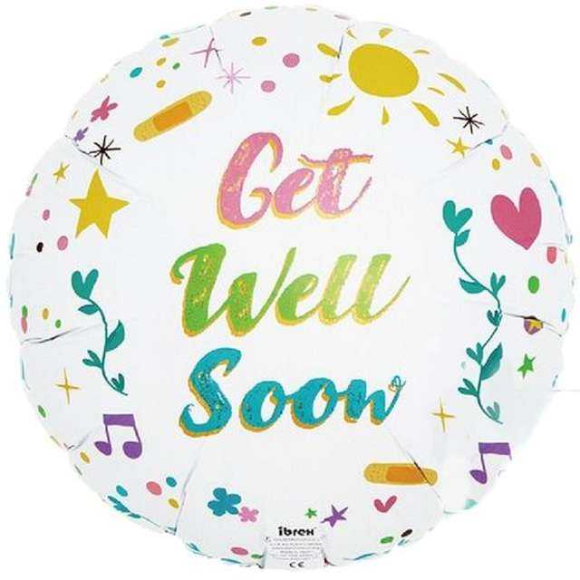 """Balon foliowy """"Get Well Soon"""", Godan, 14"""" RND"""
