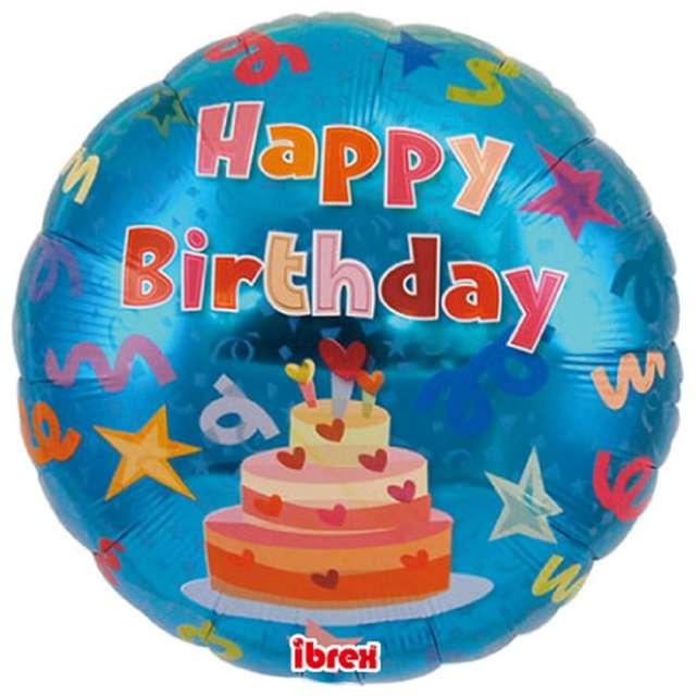 Balon foliowy Happy Birthday - Tort niebieski Ibrex 14 RND