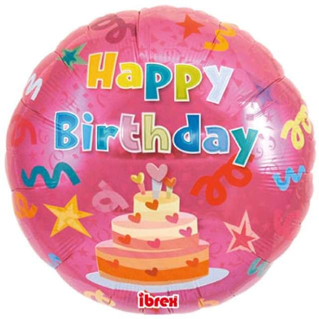 "Balon foliowy ""Happy Birthday - Tort różowy"", Ibrex, 14"", RND"