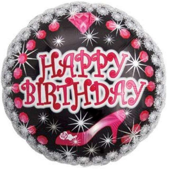 "Balon foliowy ""Happy Birthday - diamenty"", Ibrex, 14"", RND"