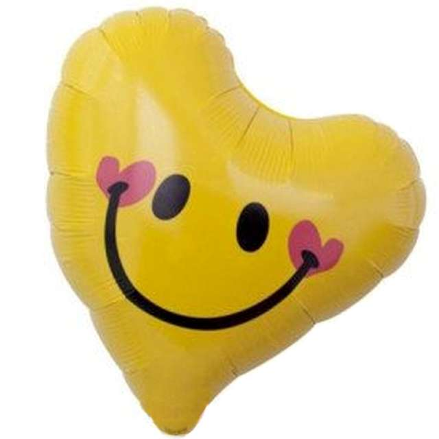 "Balon foliowy ""Uśmiechnięte serce"", żółte, Ibrex, 14"", HRT"