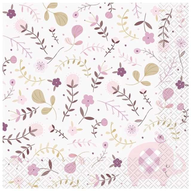 _xx_Serwetki papierowe Floral Elephant różowe 33x33 cm 16 szt.