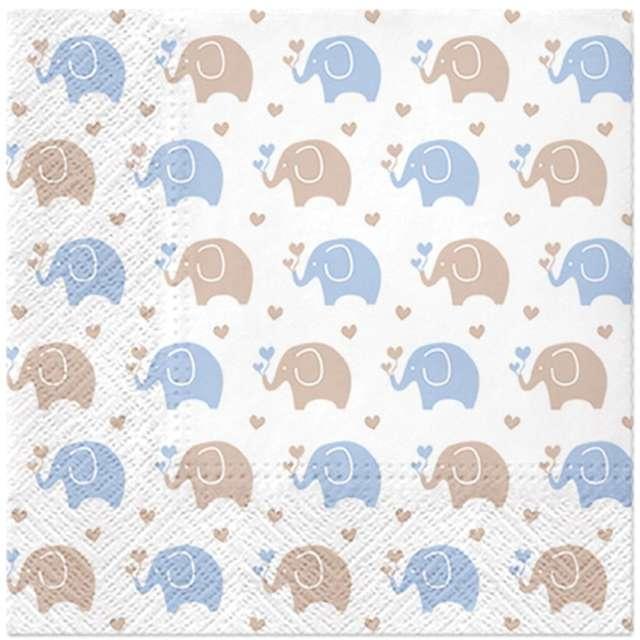 _xx_Serwetki PAW wzorzyste Baby Elephants (blue) 33x33 cm / 20 szt.