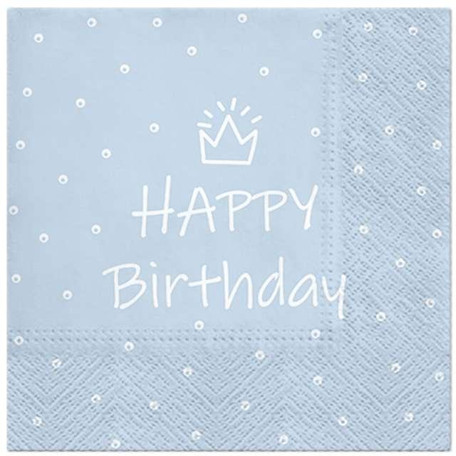 """Serwetki """"Happy Birthday kropki"""", błękitne, 33 cm, 20 szt"""