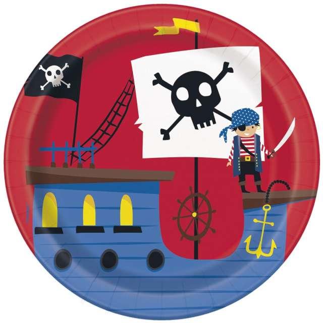 """Talerzyki papierowe """"Ahoj Piraci!"""", Unique, 18 cm, 8 szt"""