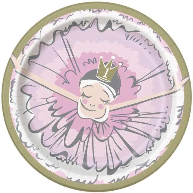 _xx_Talerzyki papierowe Ballerina pink&gold 1st birthday 18 cm 8 szt.