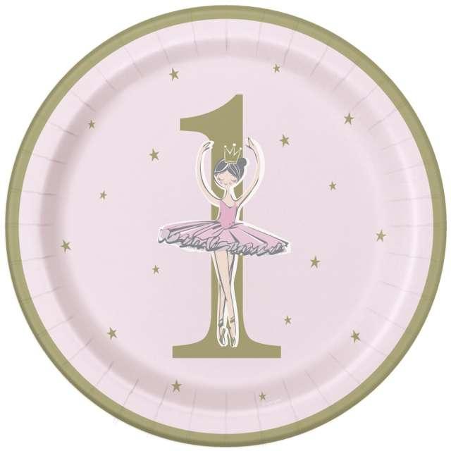 """Talerzyki papierowe """"1 Urodziny Balerina"""", kolorowe, Godan, 23 cm, 8 szt."""