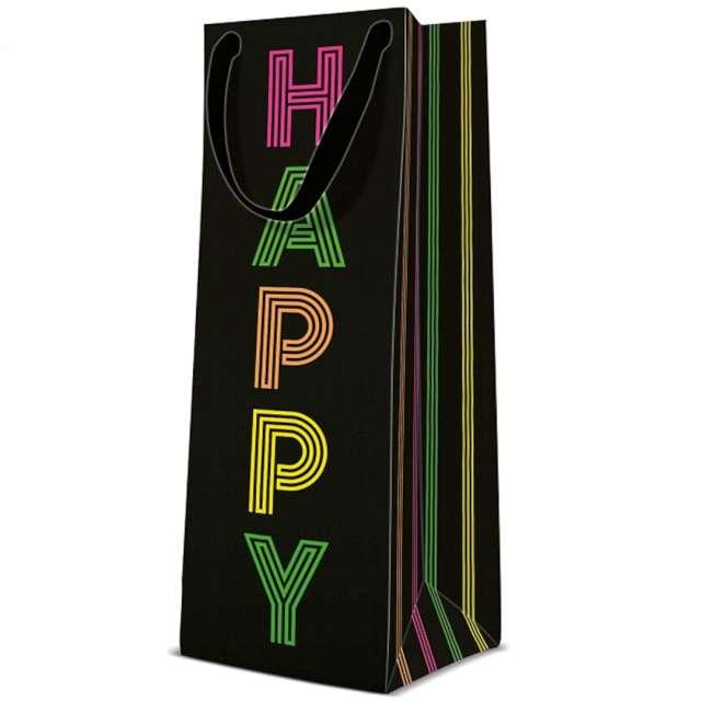 """Torebka prezentowa """"Happy"""", czarna, PAW, 37x12 cm"""