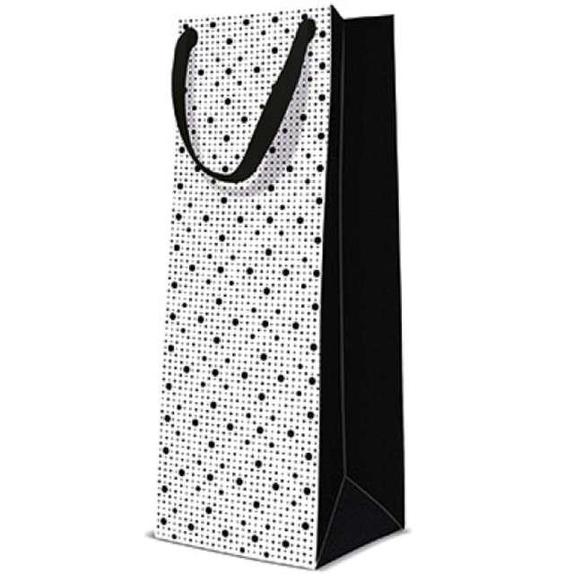 """Torebka prezentowa """"Kropki"""", biało-czarna, PAW, 12x37 cm"""