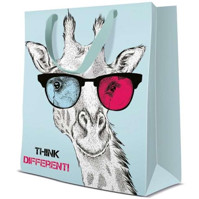 Torebka prezentowa Żyrafa w okularach Paw 20x25 cm