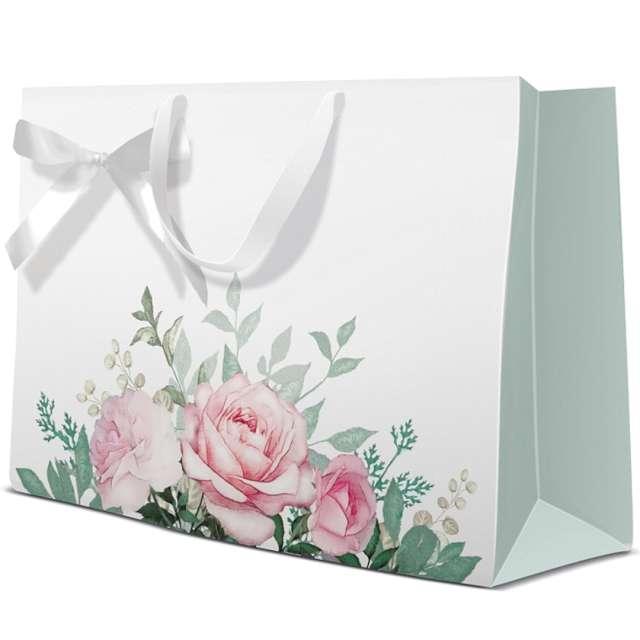 Torebka prezentowa Klasyczne róże Paw 34x27 cm