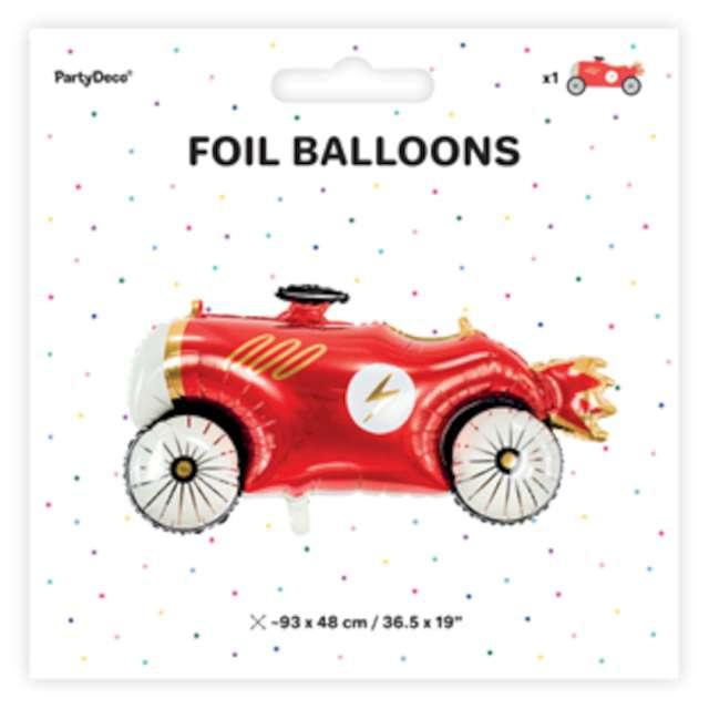 Balon foliowy Autko z piorunem czerwone PartyDeco 36 SHP