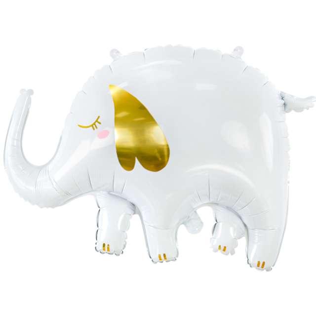 Balon foliowy Słoń ze złotym uchem biały PartyDeco 40 SHP