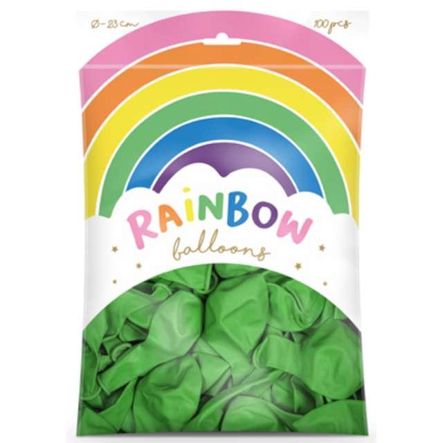 Balony Rainbow - Metalizowane zielone jasne PartyDeco 9 100 szt