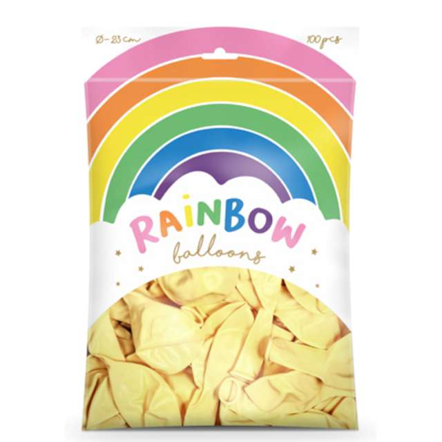 Balony Rainbow - Metalizowane kremowe PartyDeco 9 100 szt