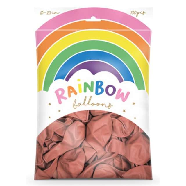 Balony Rainbow - Metalizowane różowe złoto PartyDeco 9 100 szt