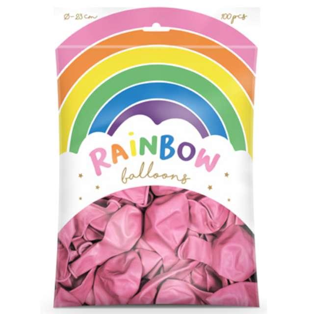 Balony Rainbow - Metalizowane różowe PartyDeco 9 100 szt