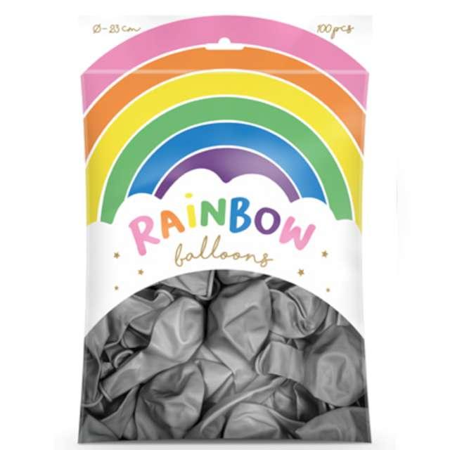 Balony Rainbow - Metalizowane srebrne PartyDeco 9 100 szt
